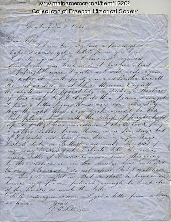 Letter written by Capt. John G. Dillingham to his wife Margaret, December 2, 1861