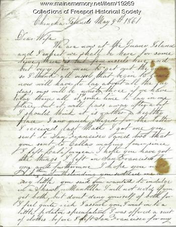 John G. Dillingham letter to wife, May 9, 1861