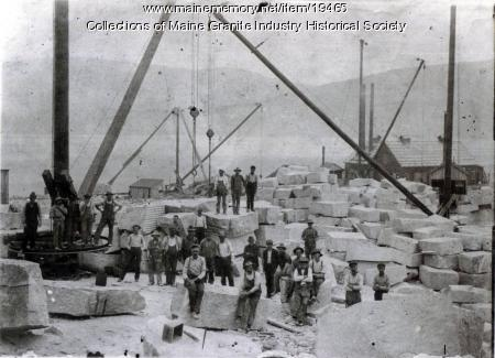 Immigrant workers at Hall Quarry, Mount Desert, 1905