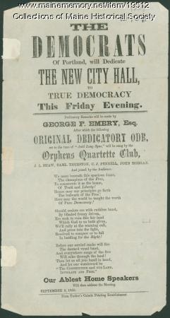 Public notice of City Hall dedication, 1859