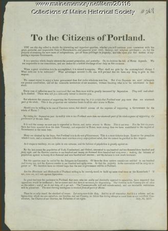 Arguments against separation from Massachusetts, 1819