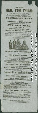 Tom Thumb performance flyer, ca. 1850