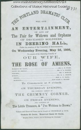 Portland Dramatic Club flyer, 1866