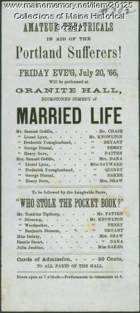 Amateur Theatricals flyer, Portland, 1866