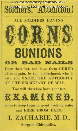 Surgeon, chiropodist advertisement, ca. 1862