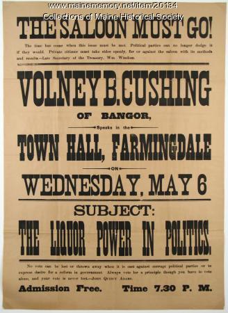 Anti-saloon broadside, ca. 1890