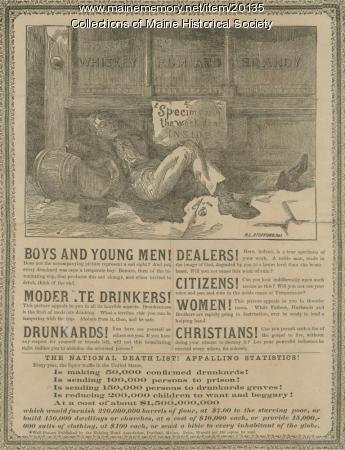 Anti-alcohol broadside, ca. 1890