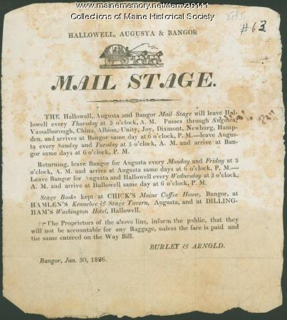 Announcement of Hallowell, Augusta & Bangor mail stage, 1826