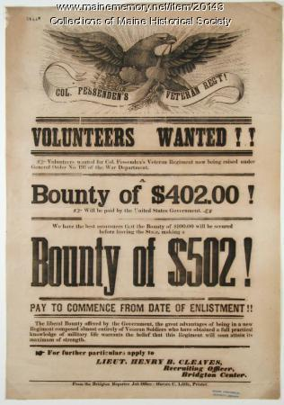 Recruitment notice for Civil War soldiers, 1863