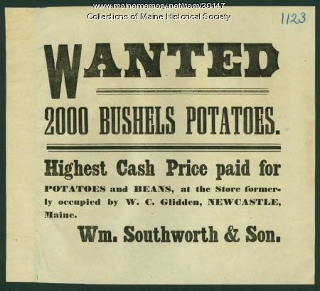 Notice seeking potatoes, Newcastle, ca. 1870