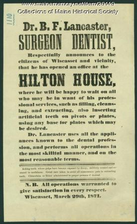Surgeon office opening announcement, Wiscasset 1871