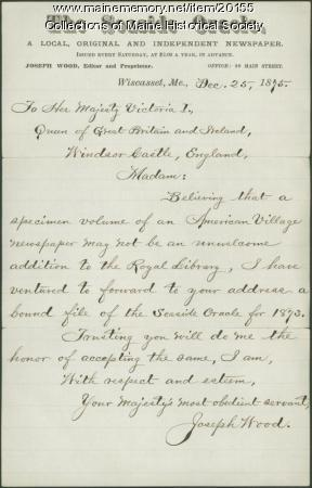 Joseph Wood to Queen Victoria, 1875