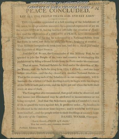 Broadside on end of War of 1812, 1815