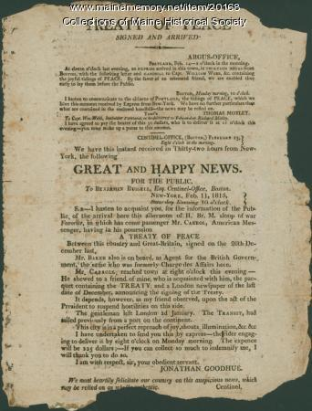 Peace announcement, 1815