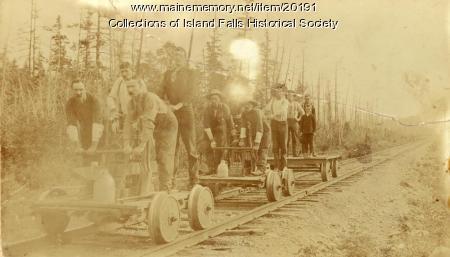 Handcars on Bangor and Aroostook Railroad, Island Falls, ca. 1895