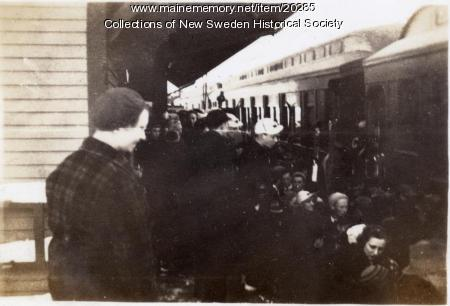 Winter Carnival arrivals, New Sweden, 1936