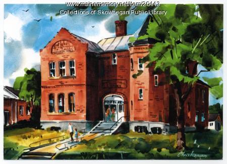 Artist's rendition of Skowhegan Free Public Library