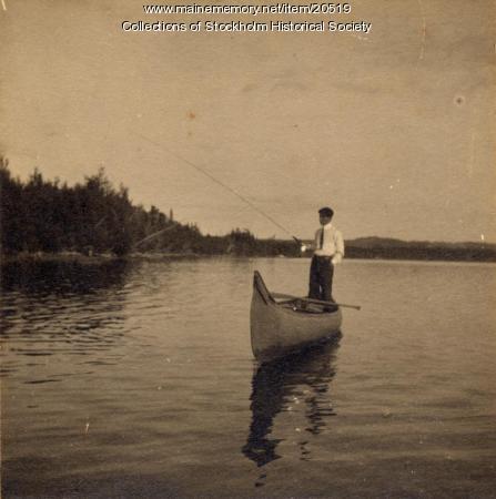 Peter Carlstrom fishing, Madawaska Lake, ca. 1915