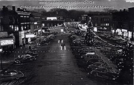Christmas season on Market Square, Houlton, ca. 1954.