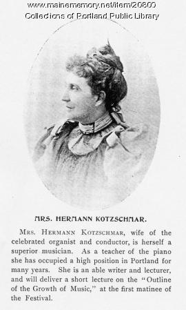 Mary Ann Kotzschmar, Portland, 1898