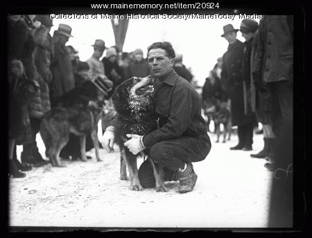 Leonhard Seppala and dog, Poland Spring, 1927