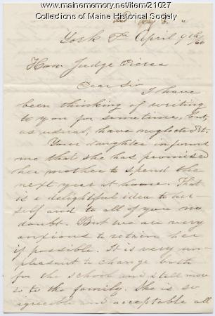 Letter concerning Nancy Pierce teaching position, 1860