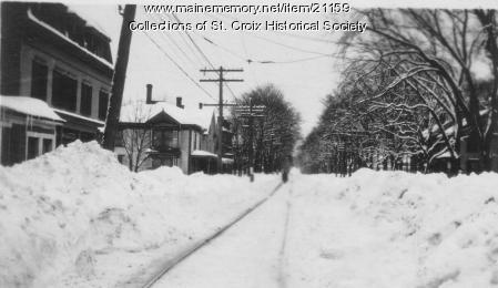 Calais Street Railway tracks in winter, Calais, ca. 1900