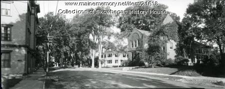Skowhegan Free Public Library and Elm Street, ca. 1940