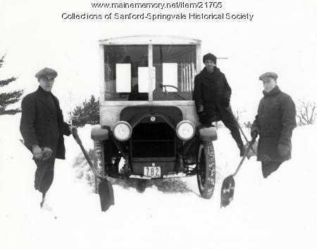 Three Men Shoveling Snow, Sanford, 1918