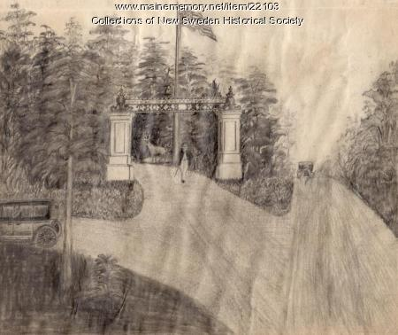 Sketch of gate at Thomas Park, New Sweden, ca. 1930