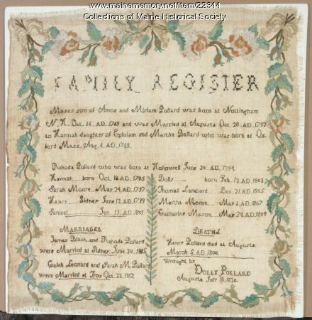 Family Register stitched by Dolly Pollard, 1820