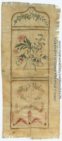 Unfinished silk pocket, Portland, ca. 1795