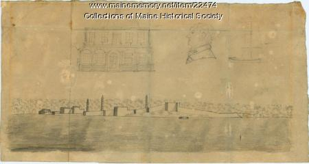 Ink sketch of Tripoli, 1804