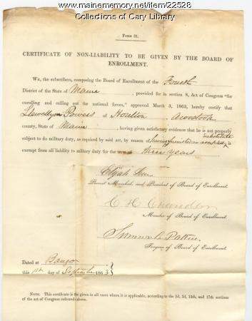 Llewelyn Powers' form 31, Bangor, 1863