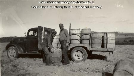 Loading Potato Barrel Truck, Mapleton, ca. 1940