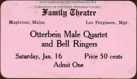 Family Theatre ticket, Mapleton, ca. 1915