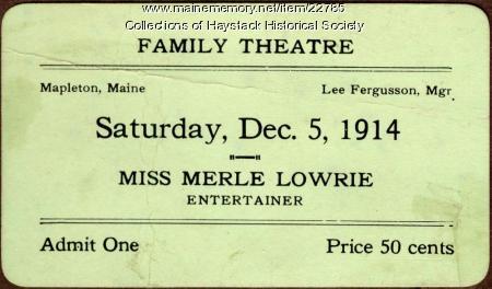 Family Theatre ticket, Mapleton, 1914