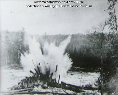 Clearing a log jam, Ambajejus, ca. 1920