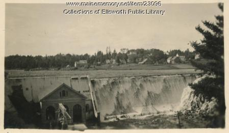 Dam at Union River, Ellsworth Falls, ca. 1920