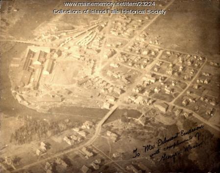 Aerial photograph of Island Falls, 1925