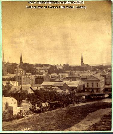 Bowman's Block and Kenduskeag Bridge, Bangor, ca. 1900