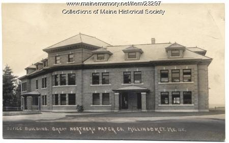 Great Northern Paper office building, Millinocket, ca. 1920