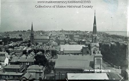 View of Portland from City Hall dome, ca. 1895