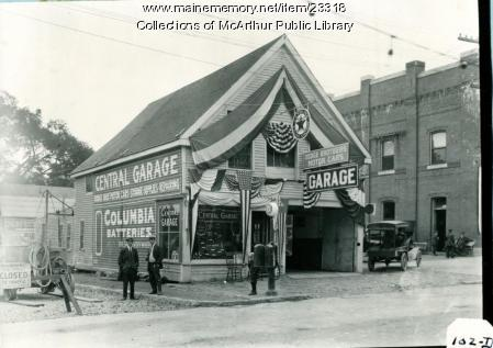 Central Garage decorated patriotically, Biddeford,  1915