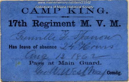 Leave card, Camp King, 1862
