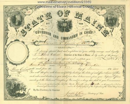 Civil War promotion certificate, 1864