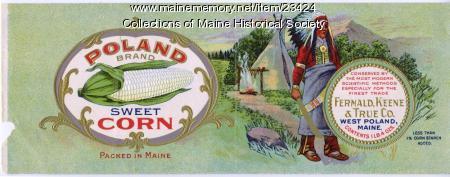Poland sweet corn can label, ca. 1900