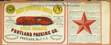 Star lobster packing label, ca. 1867