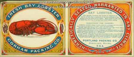 Fresh Bay Lobster Gorham Packing Co. label, ca. 1880