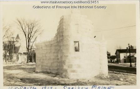 Ice Castle in Caribou during Winter Carnival, 1937